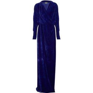 LANVIN Violet Royal Velvet Wrap Drape Gown 36 4 US